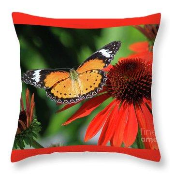 Orange Lacewing Throw Pillow