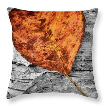 Orange Leaf Throw Pillow