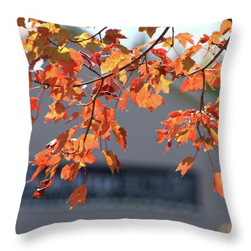 Orange Leaves Of Autumn Throw Pillow by Michele Wilson
