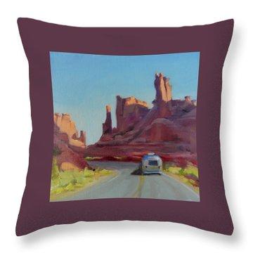 Orange Light On Red Rocks Throw Pillow
