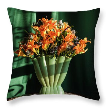Orange Lilies In June Throw Pillow by Wendy Blomseth