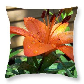 Orange Lilly Throw Pillow
