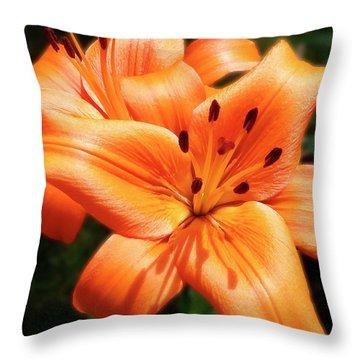 Orange Lily Joy Throw Pillow