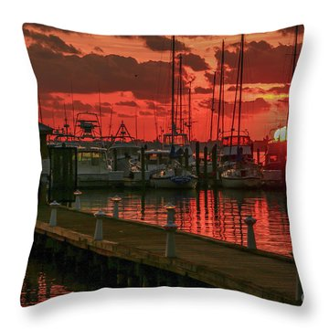 Orange Marina Sunrise Throw Pillow