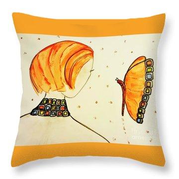 Orange Match Throw Pillow