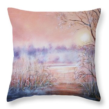 Orange Mist Throw Pillow