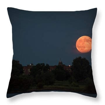 Orange Moon Throw Pillow