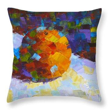 Orange Mosaic #3 Throw Pillow