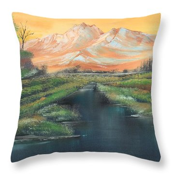 Orange Mountain Throw Pillow by Remegio Onia