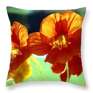 Orange Nasturtiums Throw Pillow