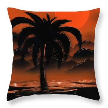 Orange Oasis Throw Pillow