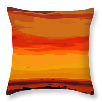 Orange Ocean Sunset Throw Pillow
