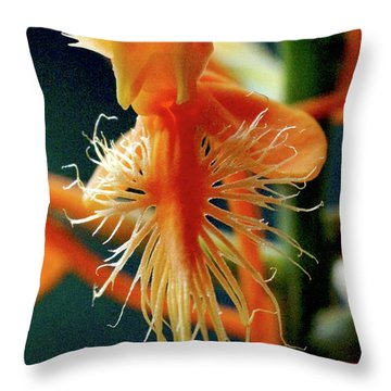 Fringed Orange Orchid Throw Pillow