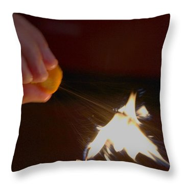 Orange Peel Flame Thrower. Throw Pillow