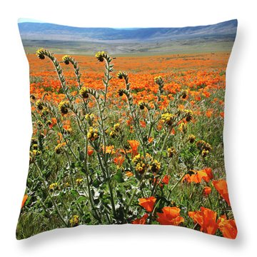 Throw Pillow featuring the mixed media Orange Poppies And Fiddleneck- Art By Linda Woods by Linda Woods