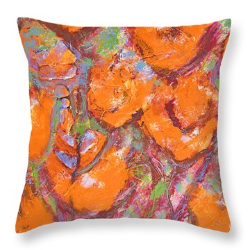 Orange Poppies Throw Pillow by Gallery Messina