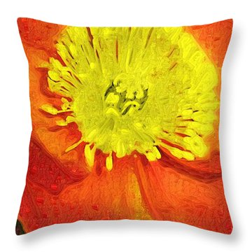 Throw Pillow featuring the photograph Orange Poppy by Donna Bentley