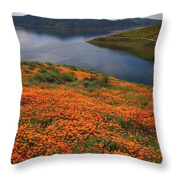 Orange Poppy Fields At Diamond Lake In California Throw Pillow by Jetson Nguyen