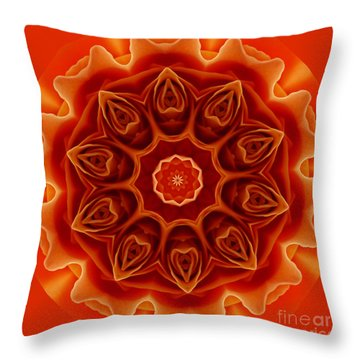 Orange Rose Mandala Throw Pillow