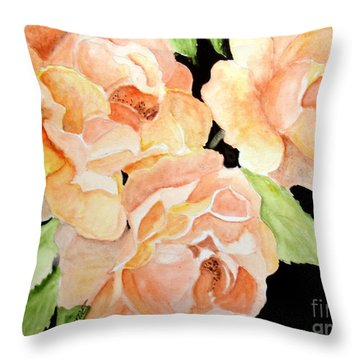 Throw Pillow featuring the painting Orange Roses by Carol Grimes