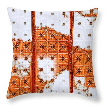 Throw Pillow featuring the mixed media Orange Scented Bleach by Lita Kelley
