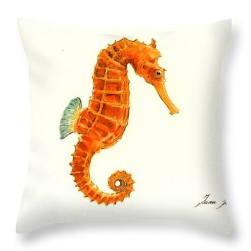 Orange Seahorse Throw Pillow by Juan Bosco