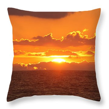 Orange Skies At Dawn Throw Pillow by Robert Banach