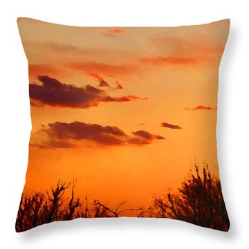 Orange Sky At Night Throw Pillow