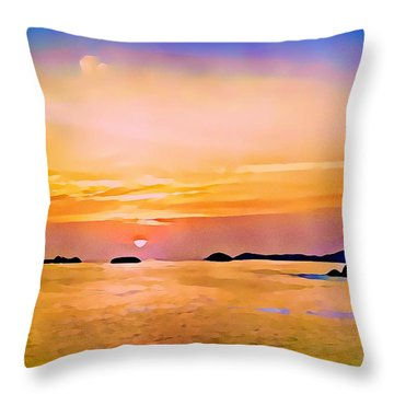 Orange Sky In Ixtapa, Mexico Throw Pillow