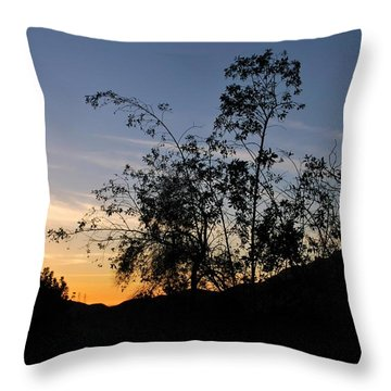 Orange Sky Nature Silhouette Throw Pillow