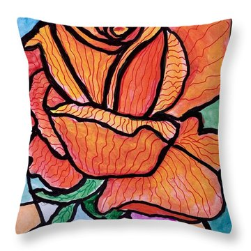 Orange Stained Glass Rose Throw Pillow