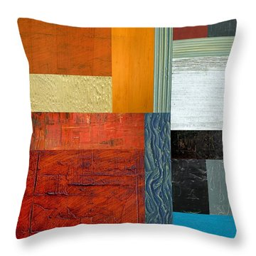 Throw Pillow featuring the painting Orange Study With Compliments 1.0 by Michelle Calkins