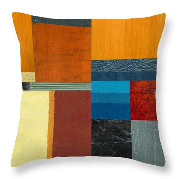 Throw Pillow featuring the painting Orange Study With Compliments 3.0 by Michelle Calkins