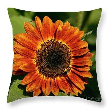 Orange Sunflower Throw Pillow