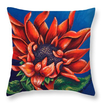 Orange Sunflower Throw Pillow