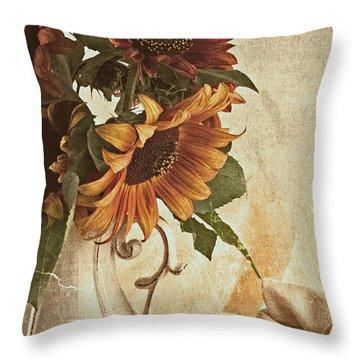 Orange Sunflowers - Found In The Attic Throw Pillow
