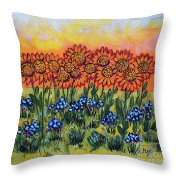 Orange Sunset Flowers Throw Pillow