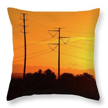 Orange Sunrise Throw Pillow