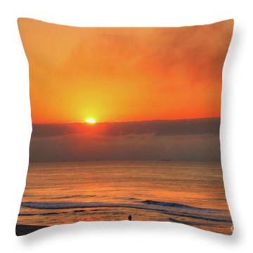 Orange Sunrise On Long Beach Island Throw Pillow