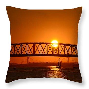 Throw Pillow featuring the photograph Orange Sunset Brooklyn Bridges Sailboat by Maureen E Ritter