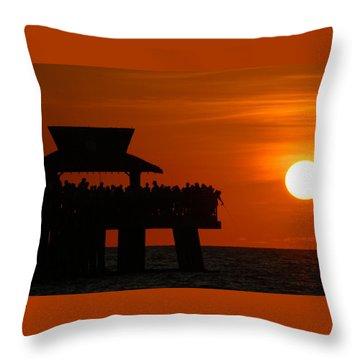 Orange Sunset In Naples Throw Pillow