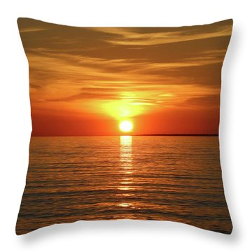 Throw Pillow featuring the photograph Orange Sunset Lake Superior by Paula Brown