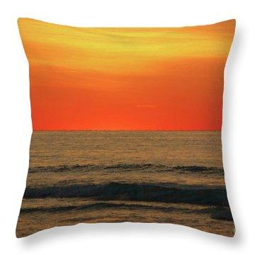 Orange Sunset On The Jersey Shore Throw Pillow