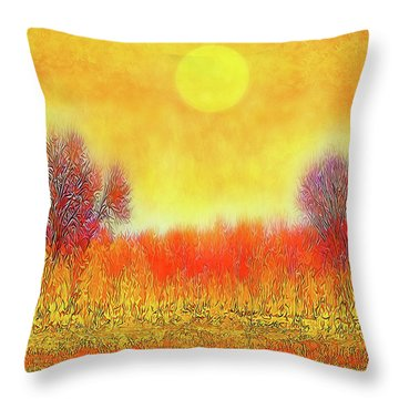 Orange Sunset Shimmer - Field In Boulder County Colorado Throw Pillow