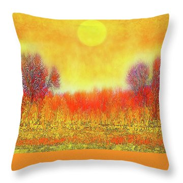 Throw Pillow featuring the digital art Orange Sunset Shimmer - Field In Boulder County Colorado by Joel Bruce Wallach