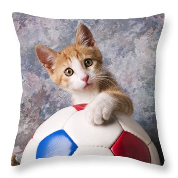 Orange Tabby Kitten With Soccer Ball Throw Pillow by Garry Gay