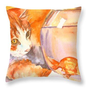 Orange Tabby With Goldfish Throw Pillow