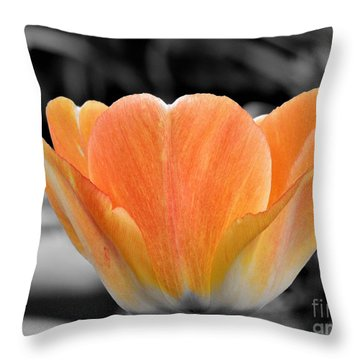 Orange Tea Cup Tulip Throw Pillow