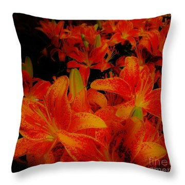 Spicey Tiger Lilies Throw Pillow