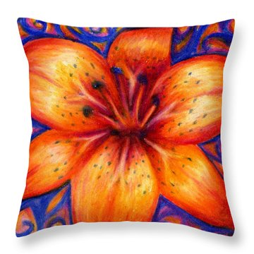 Orange Tiger Lily Drawing Throw Pillow